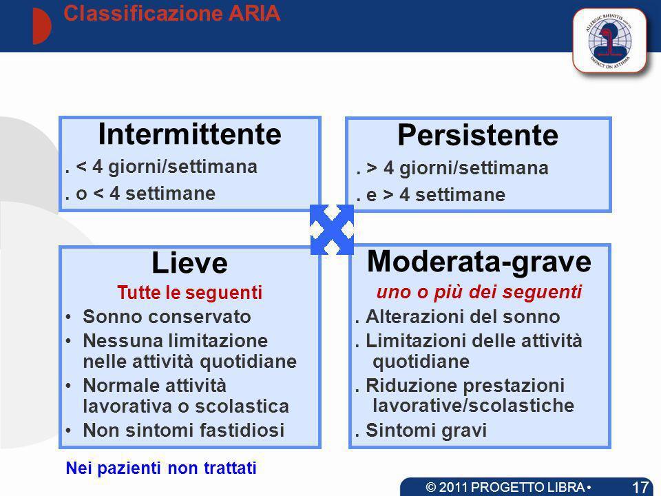 Classificazione ARIA 17 © 2011 PROGETTO LIBRA www.progetto-aria.it Moderata-grave uno o più dei seguenti. Alterazioni del sonno. Limitazioni delle att