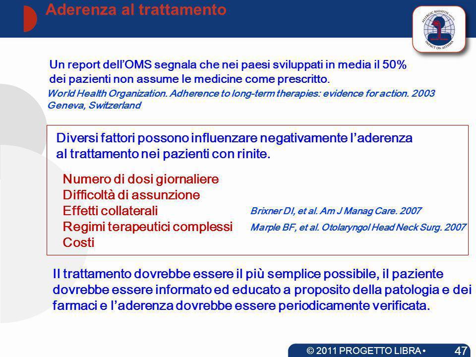 Numero di dosi giornaliere Difficoltà di assunzione Effetti collaterali Regimi terapeutici complessi Costi Un report dellOMS segnala che nei paesi svi