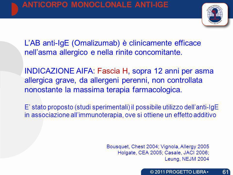 LAB anti-IgE (Omalizumab) è clinicamente efficace nellasma allergico e nella rinite concomitante. INDICAZIONE AIFA: Fascia H, sopra 12 anni per asma a