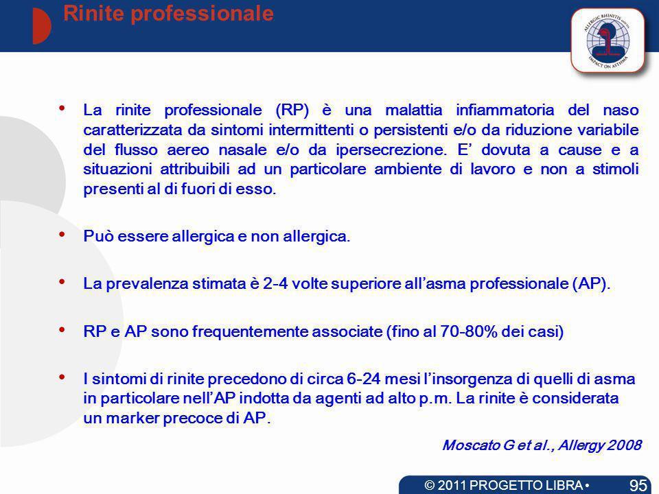 Moscato G et al., Allergy 2008 La rinite professionale (RP) è una malattia infiammatoria del naso caratterizzata da sintomi intermittenti o persistent