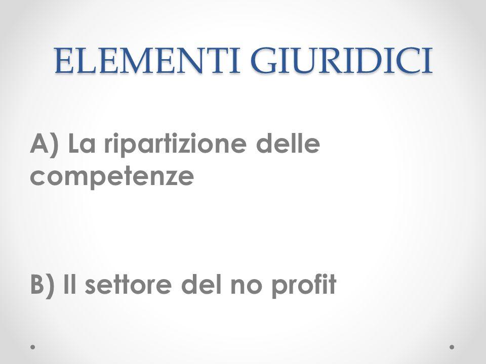 ELEMENTI GIURIDICI A) La ripartizione delle competenze B) Il settore del no profit