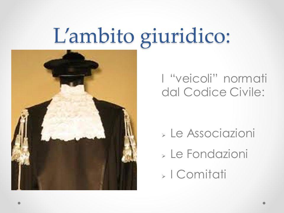 Lambito giuridico: I veicoli normati dal Codice Civile: Le Associazioni Le Fondazioni I Comitati