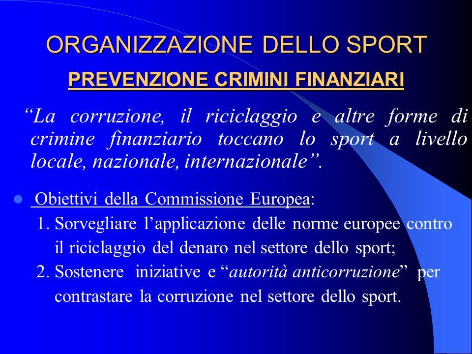 ORGANIZZAZIONE DELLO SPORT PREVENZIONE CRIMINI FINANZIARI La corruzione, il riciclaggio e altre forme di crimine finanziario toccano lo sport a livell