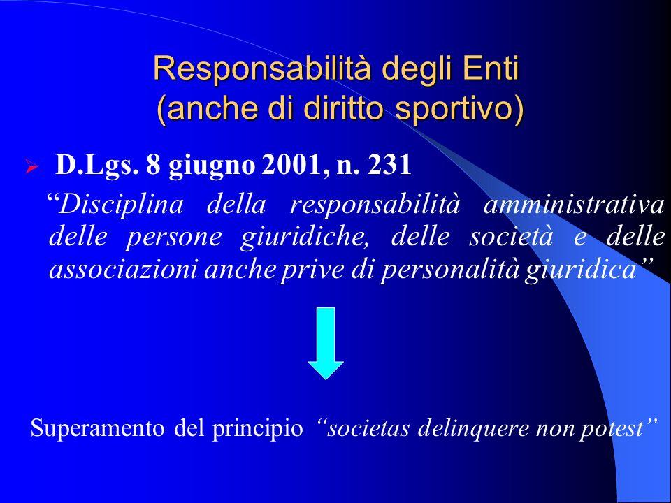 Responsabilità degli Enti (anche di diritto sportivo) D.Lgs. 8 giugno 2001, n. 231 Disciplina della responsabilità amministrativa delle persone giurid