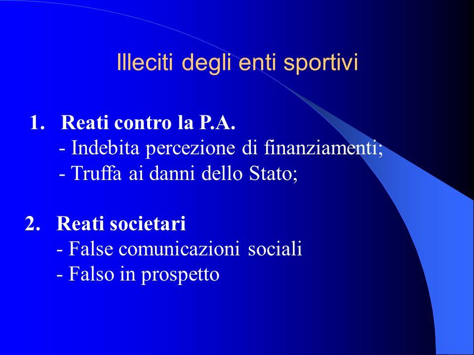 Illeciti degli enti sportivi 1. Reati contro la P.A. - Indebita percezione di finanziamenti; - Truffa ai danni dello Stato; 2. Reati societari - False