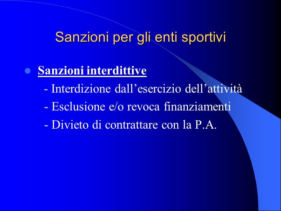 Sanzioni per gli enti sportivi Sanzioni interdittive - Interdizione dallesercizio dellattività - Esclusione e/o revoca finanziamenti - Divieto di cont