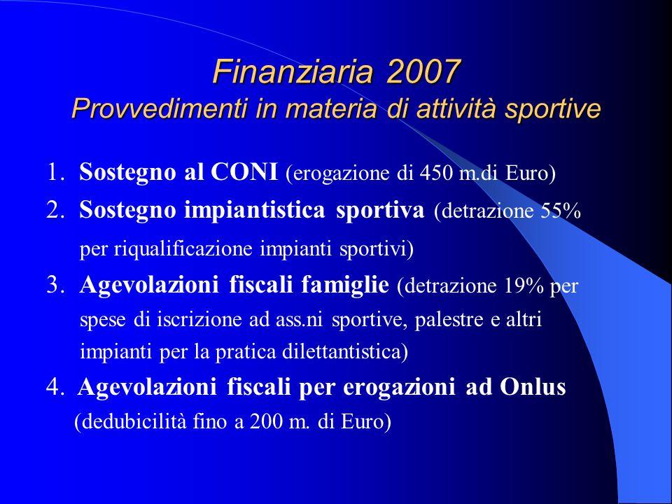 Finanziaria 2007 Provvedimenti in materia di attività sportive 1. Sostegno al CONI (erogazione di 450 m.di Euro) 2. Sostegno impiantistica sportiva (d
