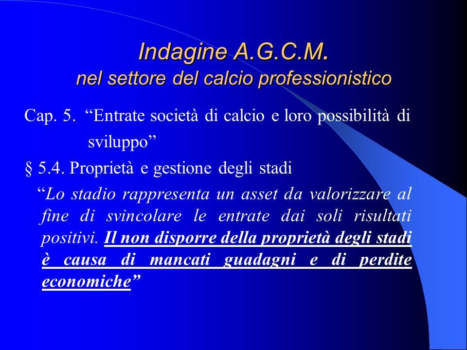 Indagine A.G.C.M. nel settore del calcio professionistico Cap. 5. Entrate società di calcio e loro possibilità di sviluppo § 5.4. Proprietà e gestione