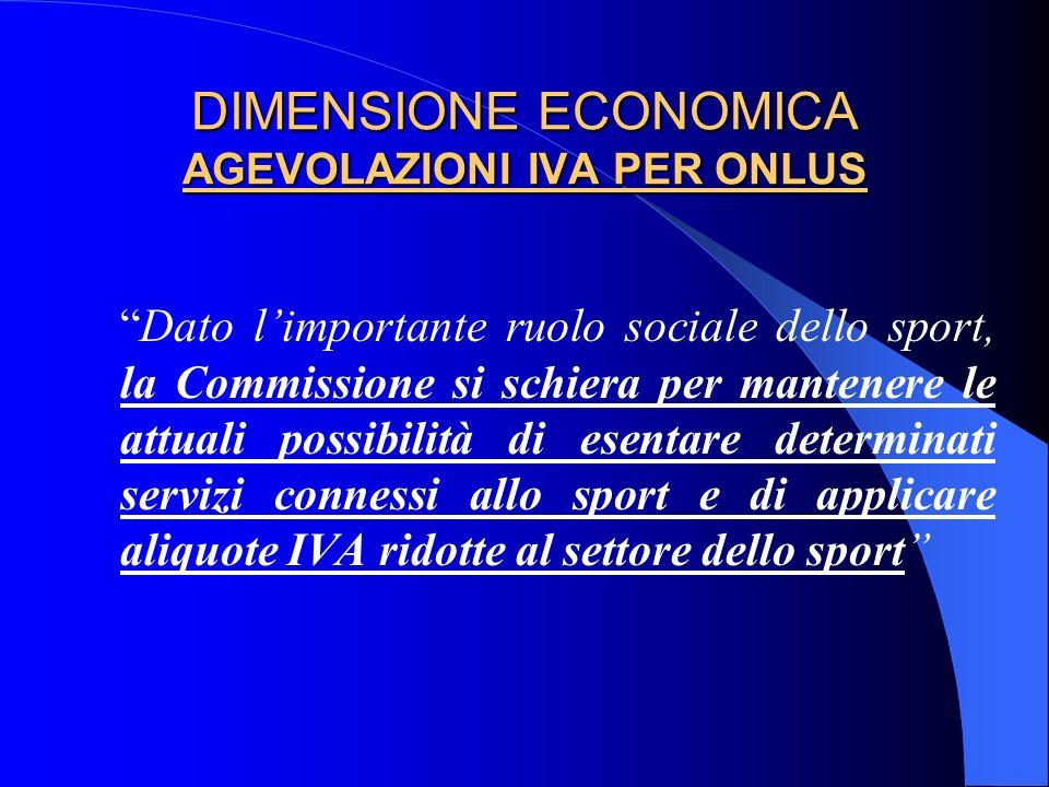 DIMENSIONE ECONOMICA AGEVOLAZIONI IVA PER ONLUS Dato limportante ruolo sociale dello sport, la Commissione si schiera per mantenere le attuali possibi
