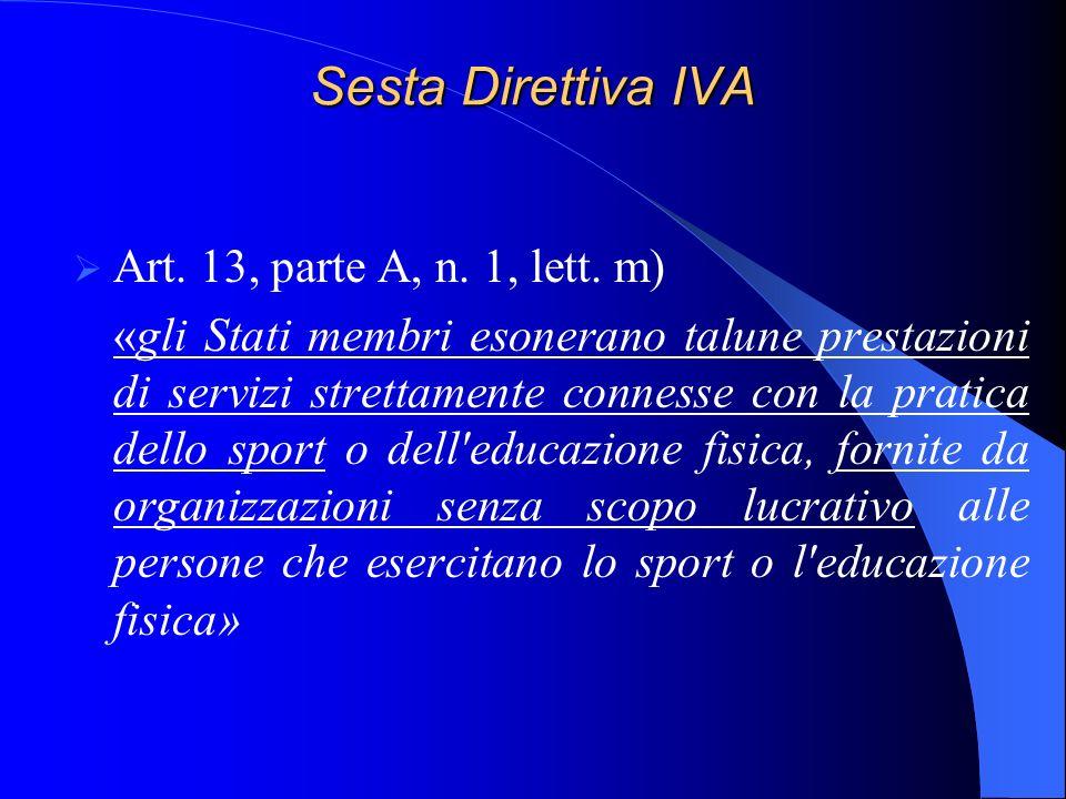 Sesta Direttiva IVA Art. 13, parte A, n. 1, lett. m) «gli Stati membri esonerano talune prestazioni di servizi strettamente connesse con la pratica de