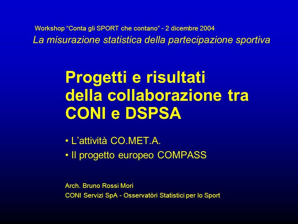 Workshop Conta gli SPORT che contano - 2 dicembre 2004 La misurazione statistica della partecipazione sportiva Progetti e risultati della collaborazio