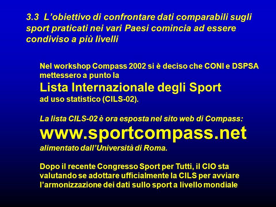 3.3 Lobiettivo di confrontare dati comparabili sugli sport praticati nei vari Paesi comincia ad essere condiviso a più livelli www.sportcompass.net al