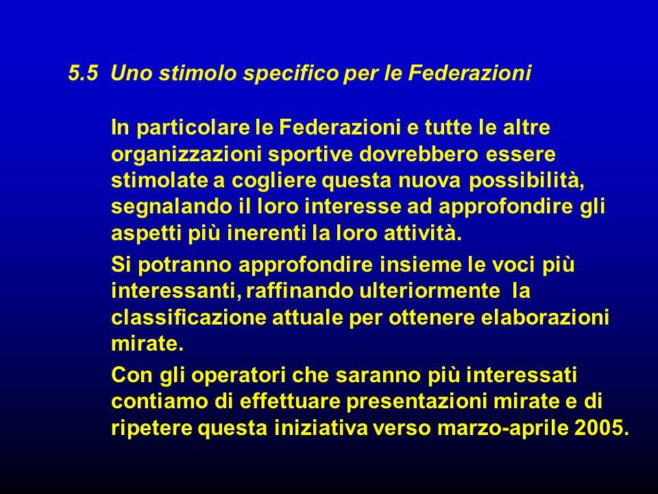 5.5 Uno stimolo specifico per le Federazioni In particolare le Federazioni e tutte le altre organizzazioni sportive dovrebbero essere stimolate a cogl