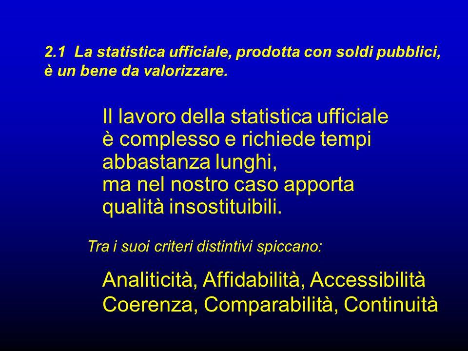 2.1 La statistica ufficiale, prodotta con soldi pubblici, è un bene da valorizzare. Tra i suoi criteri distintivi spiccano: Analiticità, Affidabilità,