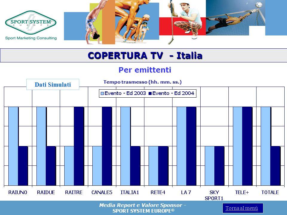 Media Report e Valore Sponsor - SPORT SYSTEM EUROPE © Torna al menù Per emittenti Tempo trasmesso (hh. mm. ss.) COPERTURA TV - Italia COPERTURA TV - I