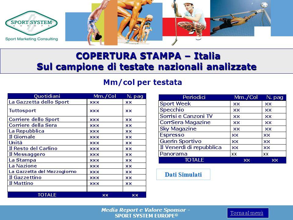 Media Report e Valore Sponsor - SPORT SYSTEM EUROPE © Torna al menù COPERTURA STAMPA – Italia COPERTURA STAMPA – Italia Sul campione di testate nazion
