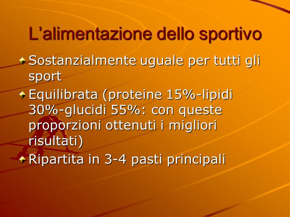 Lalimentazione dello sportivo Sostanzialmente uguale per tutti gli sport Equilibrata (proteine 15%-lipidi 30%-glucidi 55%: con queste proporzioni otte