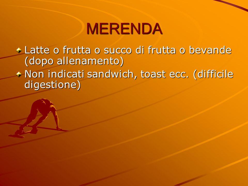 MERENDA Latte o frutta o succo di frutta o bevande (dopo allenamento) Non indicati sandwich, toast ecc. (difficile digestione)
