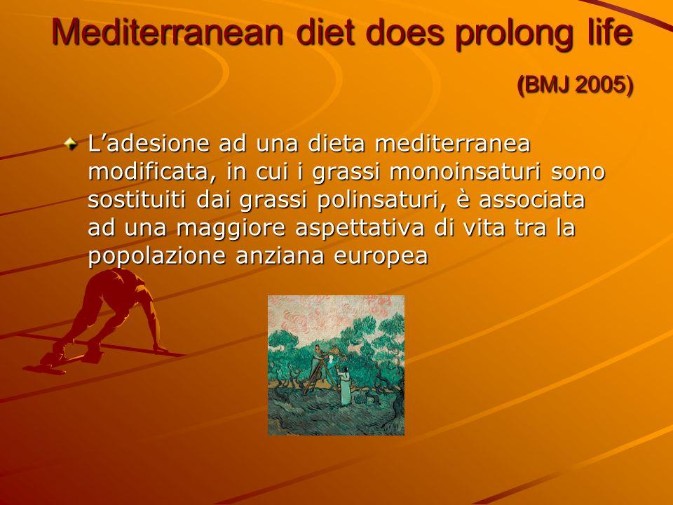 Mediterranean diet does prolong life (BMJ 2005) Ladesione ad una dieta mediterranea modificata, in cui i grassi monoinsaturi sono sostituiti dai grass