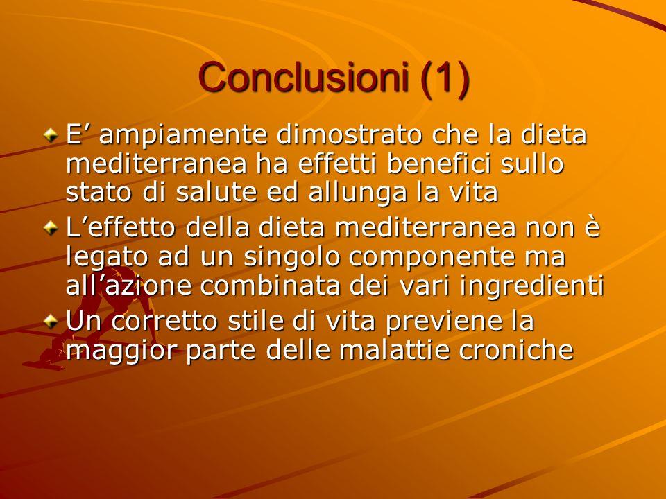 Conclusioni (1) E ampiamente dimostrato che la dieta mediterranea ha effetti benefici sullo stato di salute ed allunga la vita Leffetto della dieta me