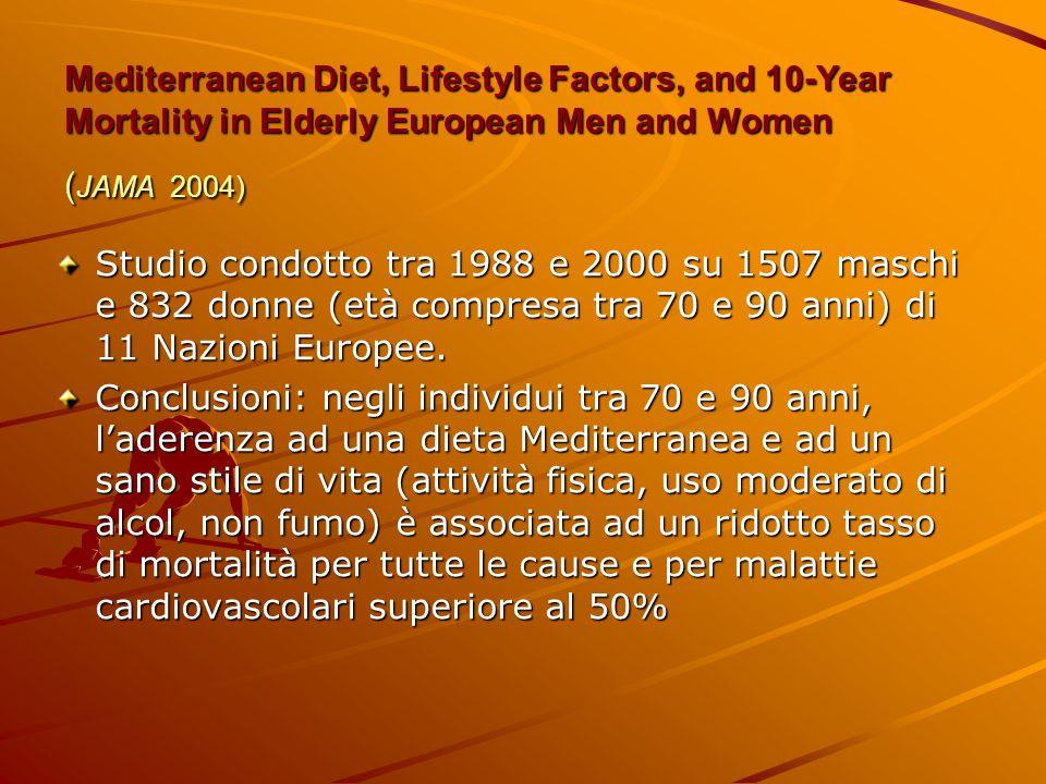 Mediterranean Diet, Lifestyle Factors, and 10-Year Mortality in Elderly European Men and Women ( JAMA 2004) Studio condotto tra 1988 e 2000 su 1507 ma