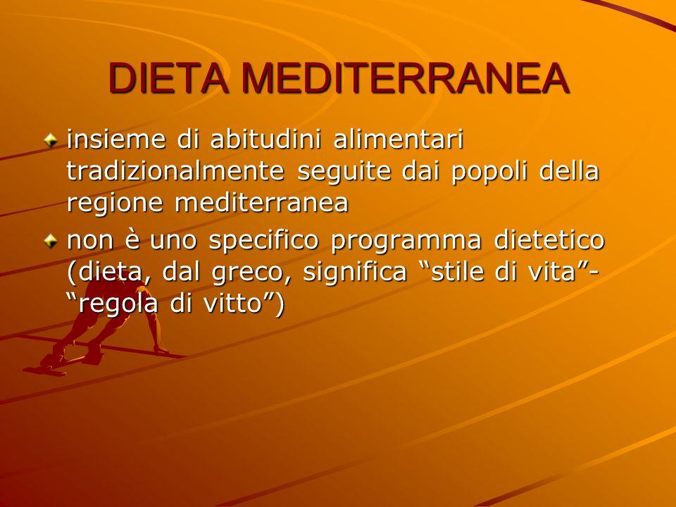 DIETA MEDITERRANEA insieme di abitudini alimentari tradizionalmente seguite dai popoli della regione mediterranea non è uno specifico programma dietet