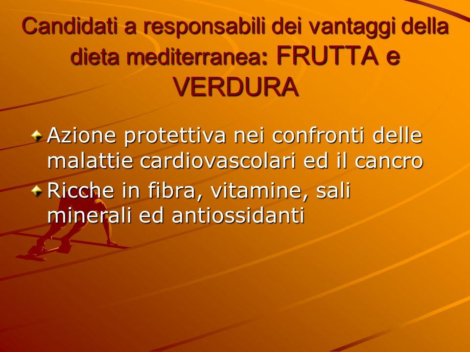 Candidati a responsabili dei vantaggi della dieta mediterranea: PESCE Il pesce è una fonte di acidi grassi essenziali polinsaturi omega-3 Gli omega-3 hanno attività antinfiammatoria, vasodilatatoria, antiaggregante