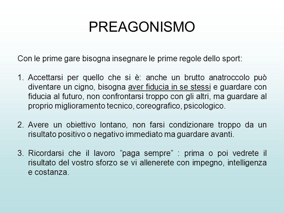 PREAGONISMO Con le prime gare bisogna insegnare le prime regole dello sport: 1.Accettarsi per quello che si è: anche un brutto anatroccolo può diventa