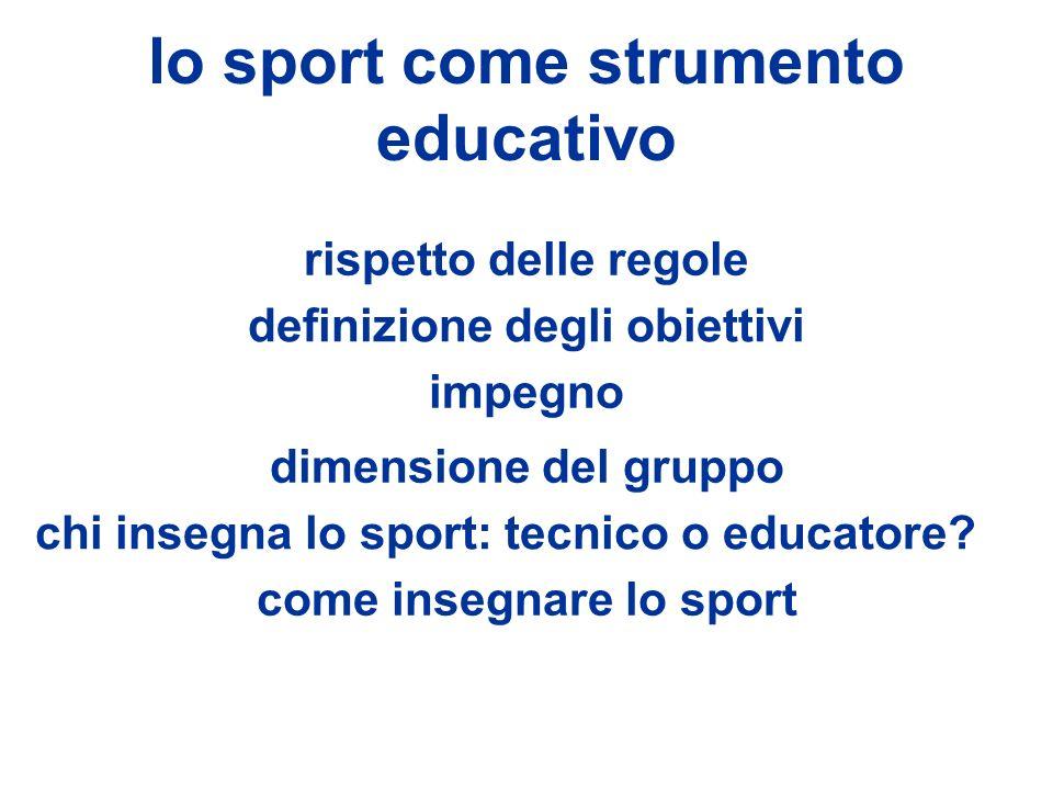 lo sport come strumento educativo rispetto delle regole definizione degli obiettivi dimensione del gruppo come insegnare lo sport impegno chi insegna lo sport: tecnico o educatore