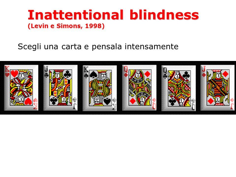 Inattentional blindness (Levin e Simons, 1998) Scegli una carta e pensala intensamente