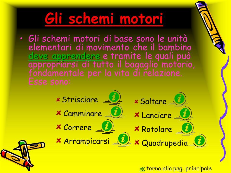 Gli schemi motori deve apprendere deve apprendereGli schemi motori di base sono le unità elementari di movimento che il bambino deve apprendere e tram