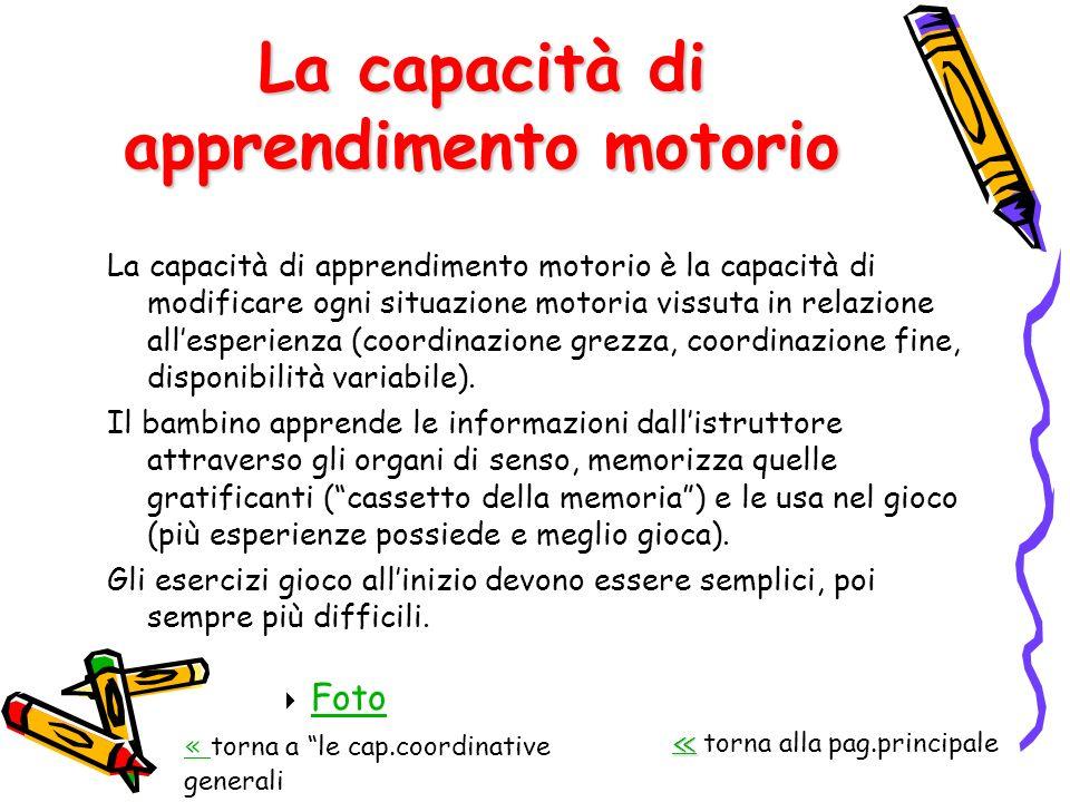 La capacità di apprendimento motorio La capacità di apprendimento motorio è la capacità di modificare ogni situazione motoria vissuta in relazione all