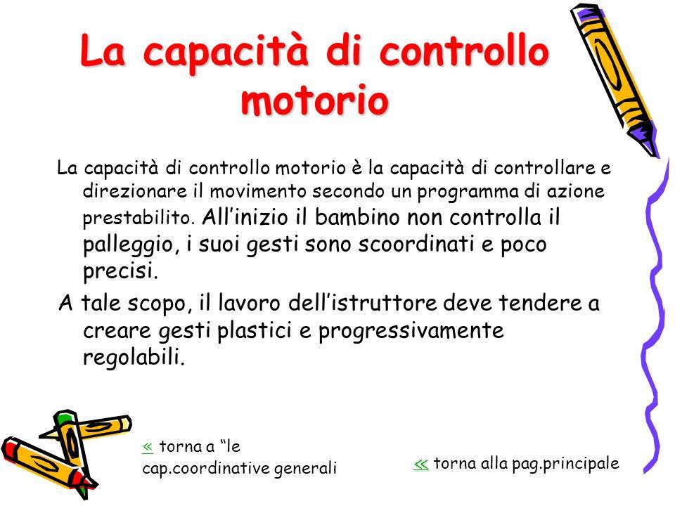 La capacità di controllo motorio La capacità di controllo motorio è la capacità di controllare e direzionare il movimento secondo un programma di azio