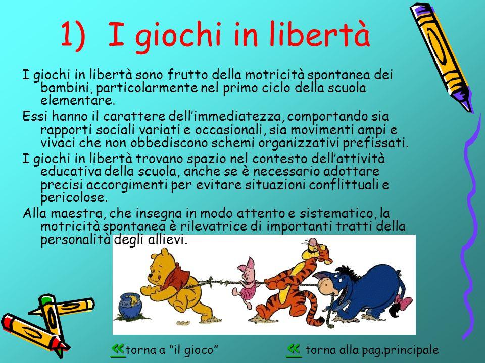 1)I giochi in libertà I giochi in libertà sono frutto della motricità spontanea dei bambini, particolarmente nel primo ciclo della scuola elementare.