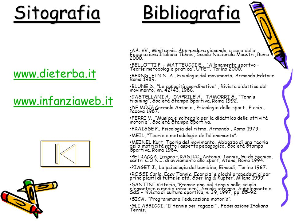 BibliografiaSitografia www.dieterba.it www.infanziaweb.it AA. VV., Minitennis. Apprendere giocando, a cura della Federazione Italiana Tennis, Scuola N