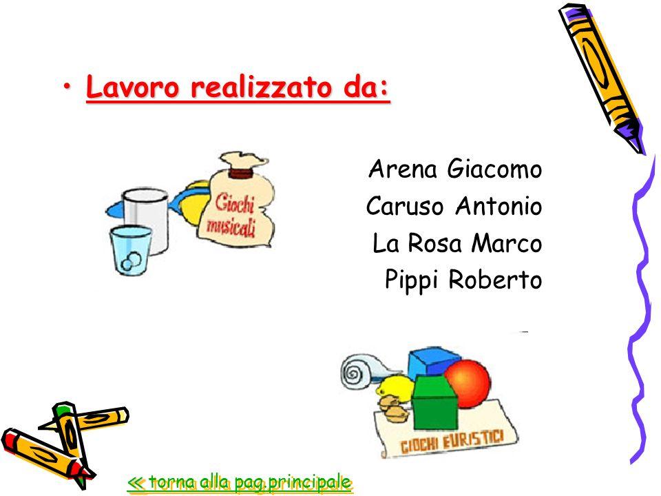 Lavoro realizzato da:Lavoro realizzato da: Arena Giacomo Caruso Antonio La Rosa Marco Pippi Roberto torna alla pag.principale torna alla pag.principal