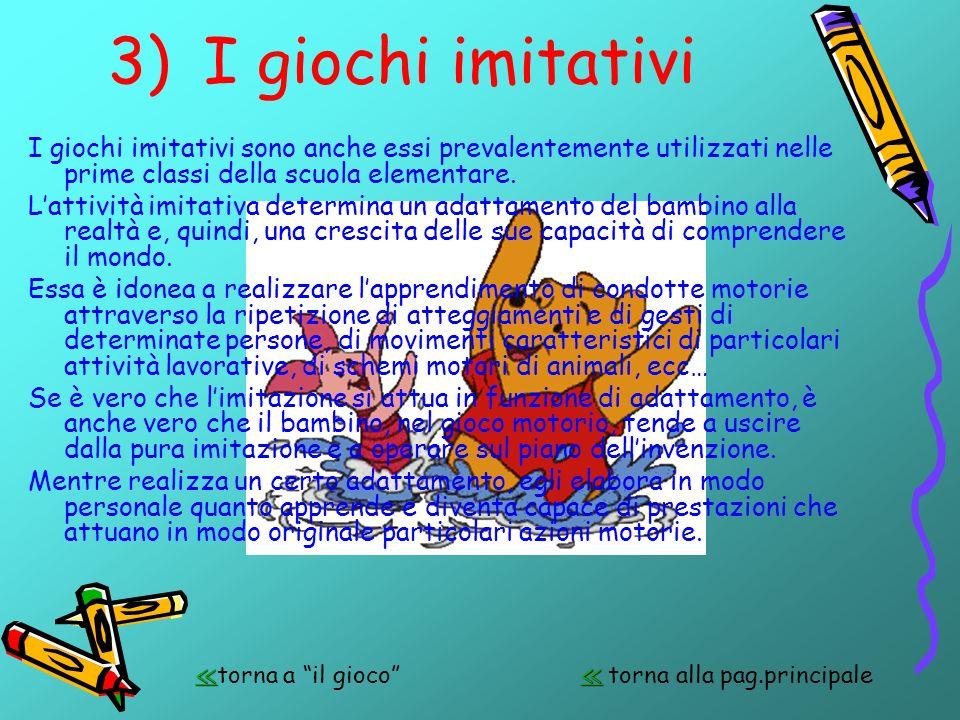 3)I giochi imitativi I giochi imitativi sono anche essi prevalentemente utilizzati nelle prime classi della scuola elementare. Lattività imitativa det