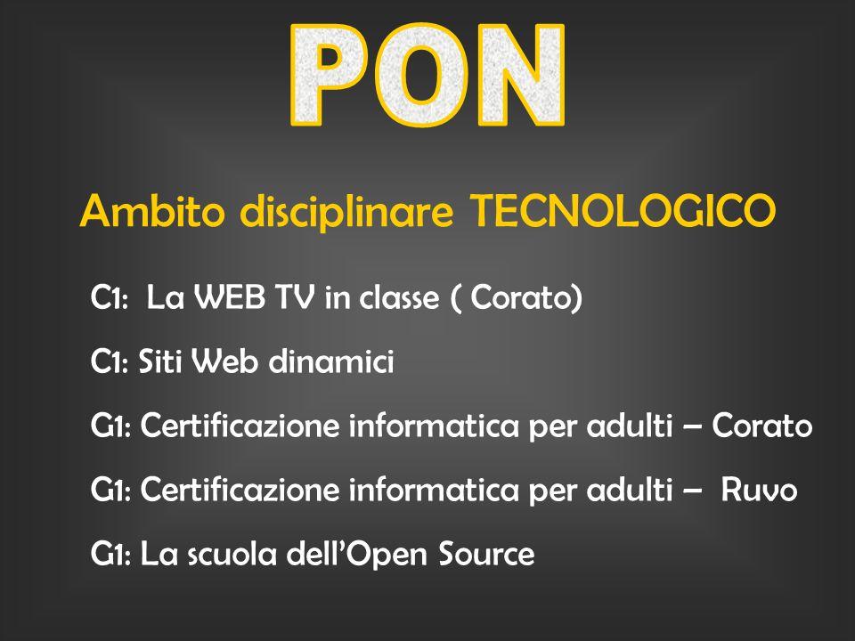 Ambito disciplinare TECNOLOGICO C1: La WEB TV in classe ( Corato) C1: Siti Web dinamici G1: Certificazione informatica per adulti – Corato G1: Certificazione informatica per adulti – Ruvo G1: La scuola dellOpen Source