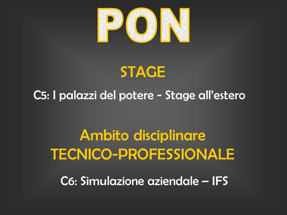 STAGE C5: I palazzi del potere - Stage allestero Ambito disciplinare TECNICO-PROFESSIONALE C6: Simulazione aziendale – IFS