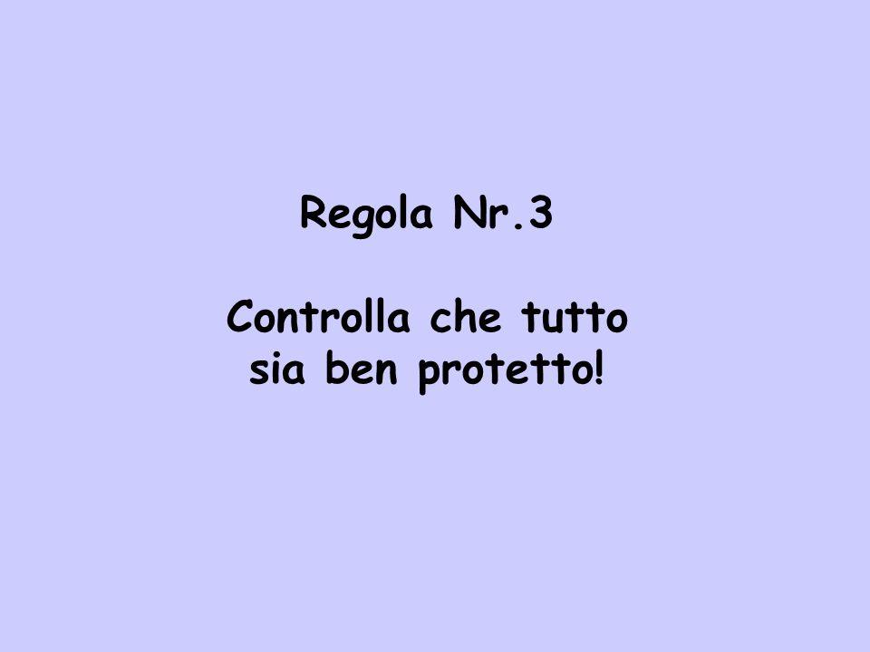 Regola Nr.3 Controlla che tutto sia ben protetto!