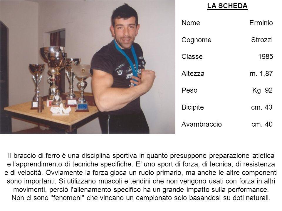 LA SCHEDA Nome Erminio Cognome Strozzi Classe 1985 Altezza m.