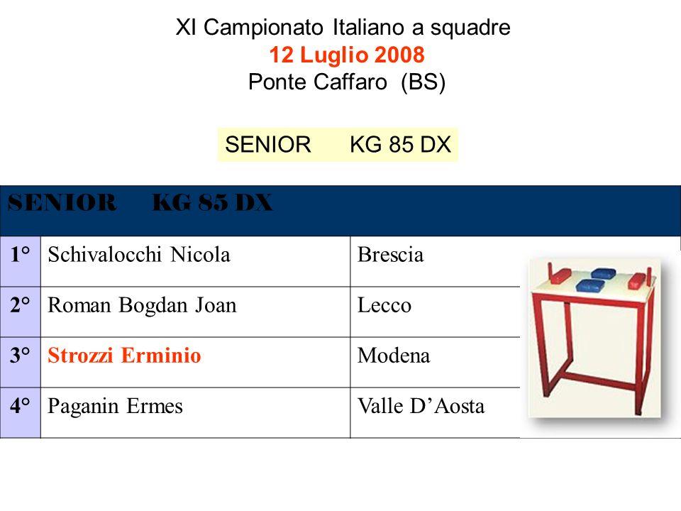 XI Campionato Italiano a squadre 12 Luglio 2008 Ponte Caffaro (BS) SENIOR KG 85 DX 1°Schivalocchi NicolaBrescia 2°Roman Bogdan JoanLecco 3°Strozzi ErminioModena 4°Paganin ErmesValle DAosta SENIOR KG 85 DX