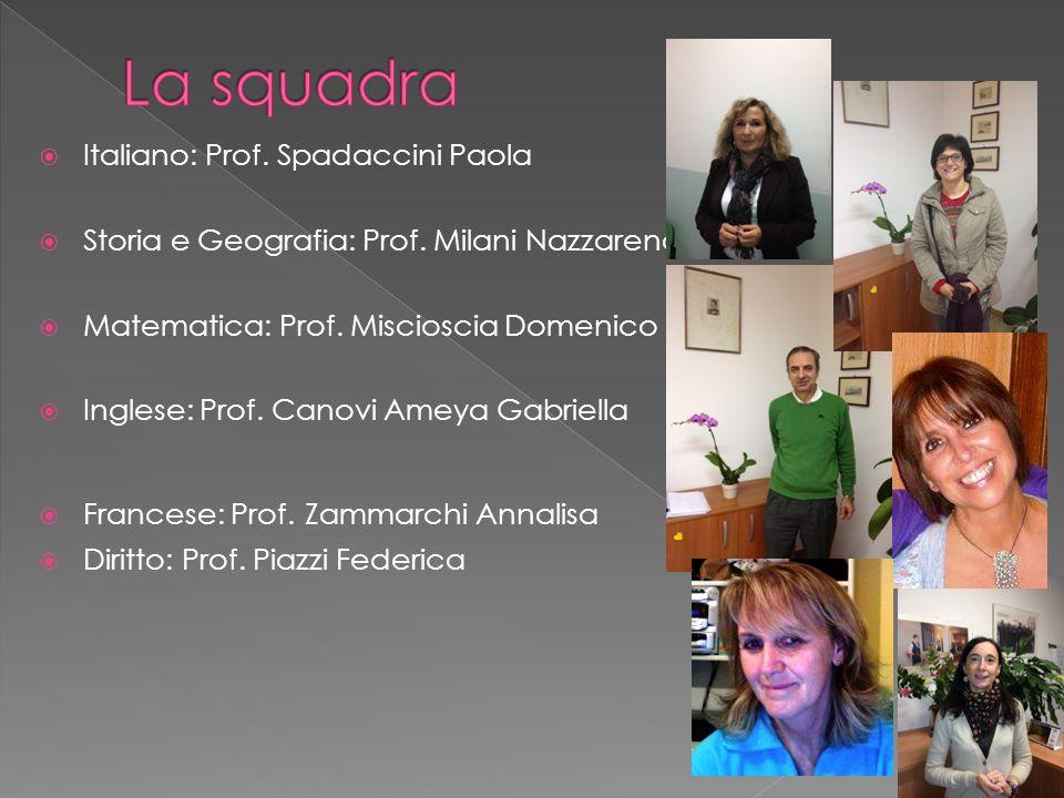 Italiano: Prof. Spadaccini Paola Storia e Geografia: Prof. Milani Nazzarena Matematica: Prof. Miscioscia Domenico Inglese: Prof. Canovi Ameya Gabriell