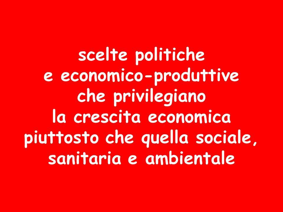 scelte politiche e economico-produttive che privilegiano la crescita economica piuttosto che quella sociale, sanitaria e ambientale