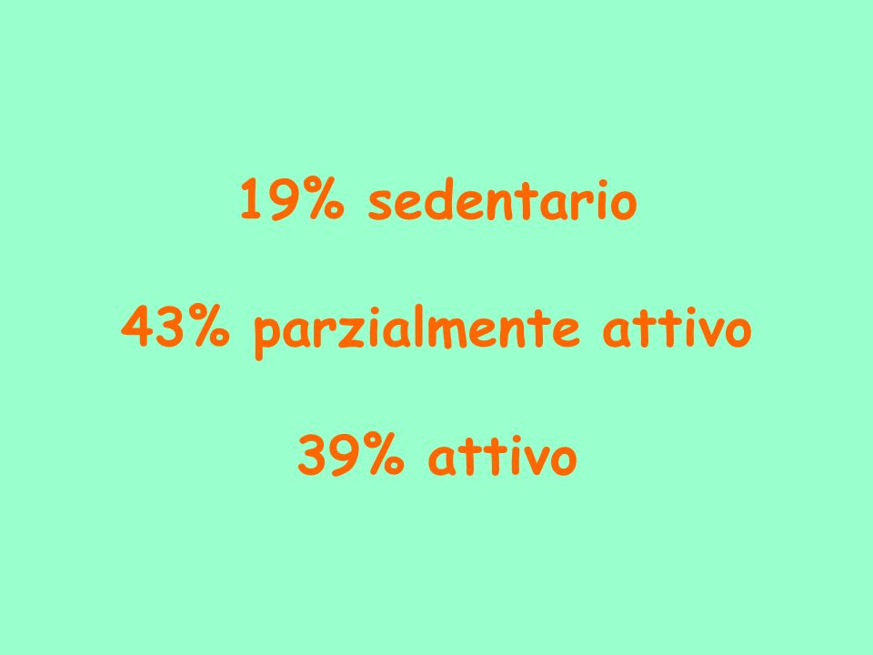 19% sedentario 43% parzialmente attivo 39% attivo