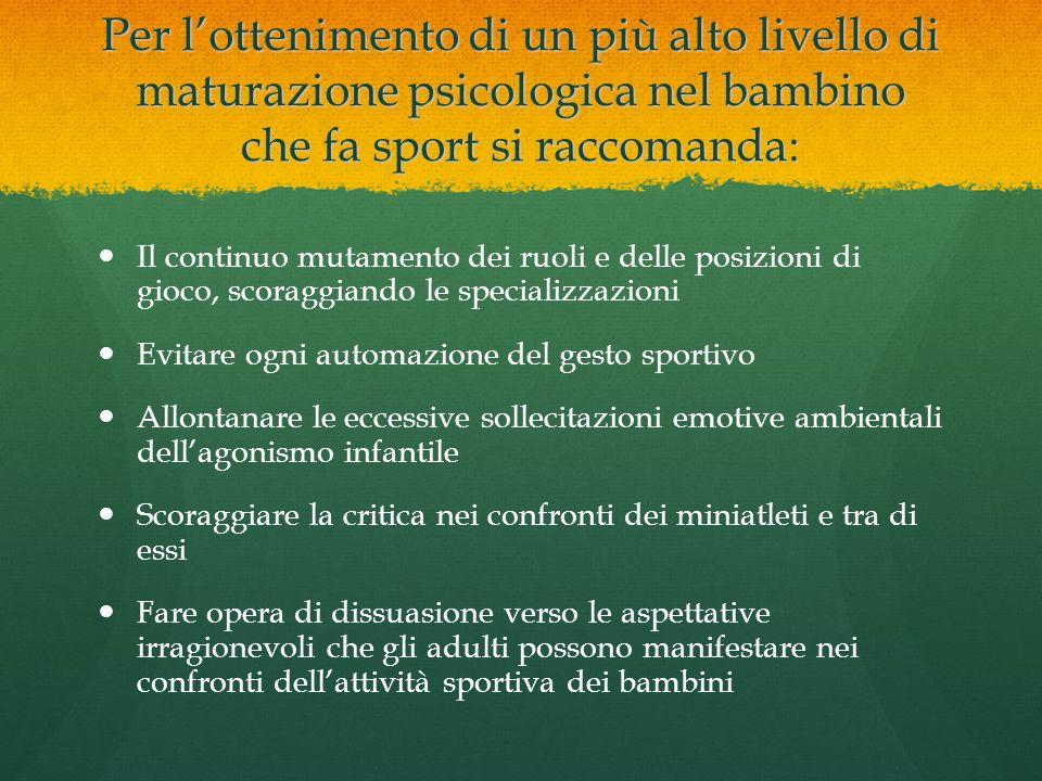 Per lottenimento di un più alto livello di maturazione psicologica nel bambino che fa sport si raccomanda: Il continuo mutamento dei ruoli e delle pos