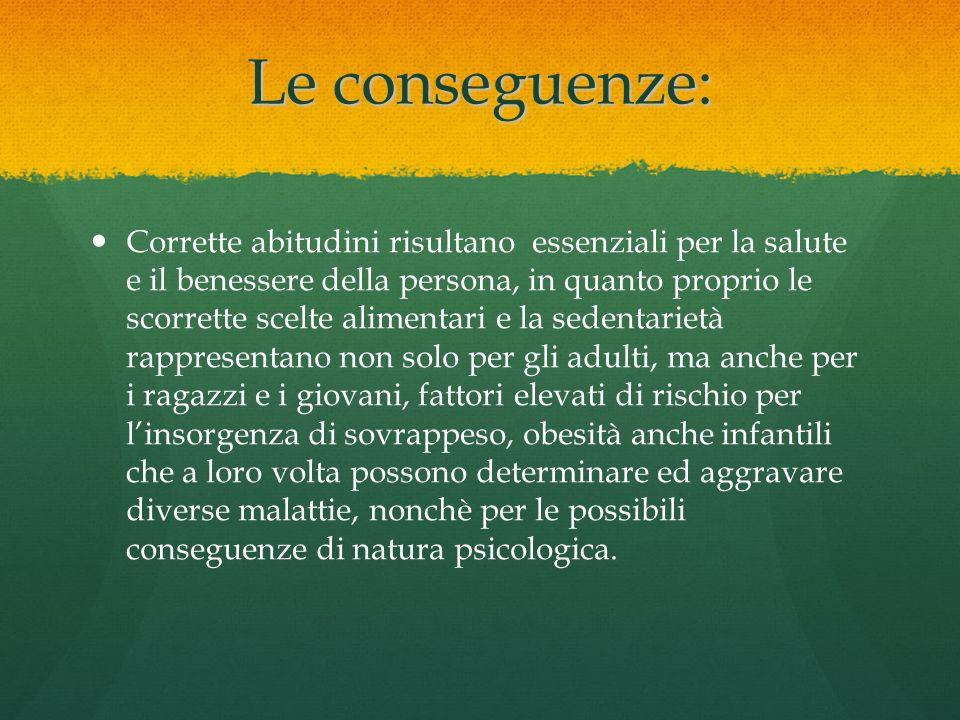 Le conseguenze: Corrette abitudini risultano essenziali per la salute e il benessere della persona, in quanto proprio le scorrette scelte alimentari e