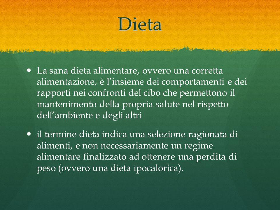 Dieta La sana dieta alimentare, ovvero una corretta alimentazione, è linsieme dei comportamenti e dei rapporti nei confronti del cibo che permettono i