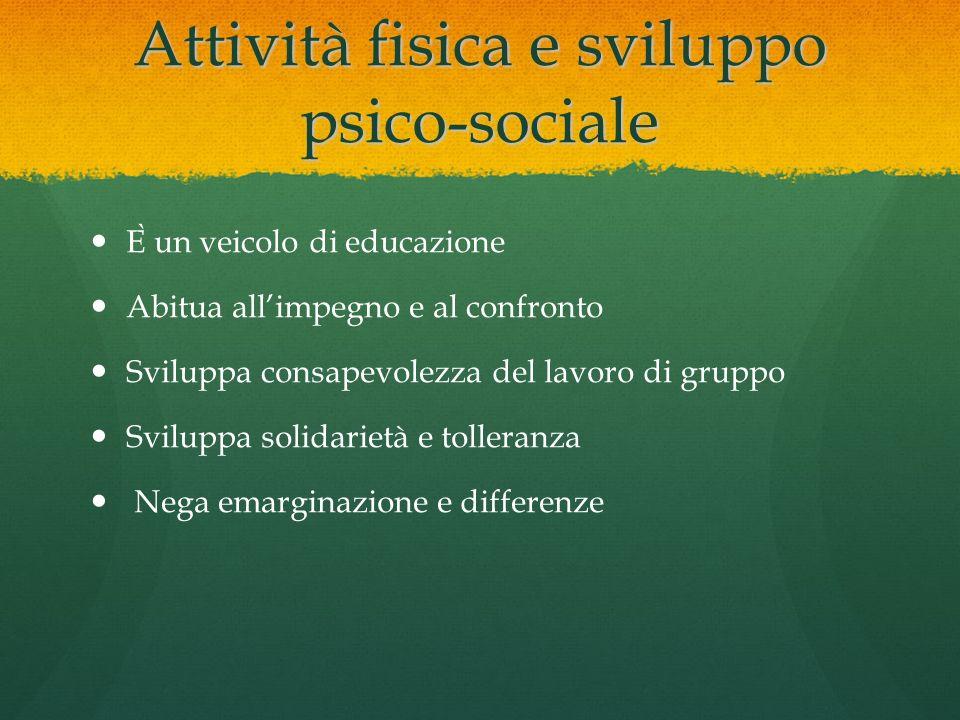 Attività fisica e sviluppo psico-sociale E ̀ un veicolo di educazione Abitua allimpegno e al confronto Sviluppa consapevolezza del lavoro di gruppo Sv