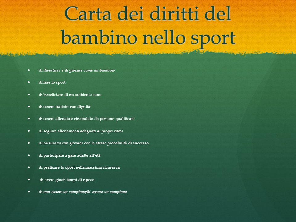 Carta dei diritti del bambino nello sport di divertirsi e di giocare come un bambino di fare lo sport di beneficiare di un ambiente sano di essere tra